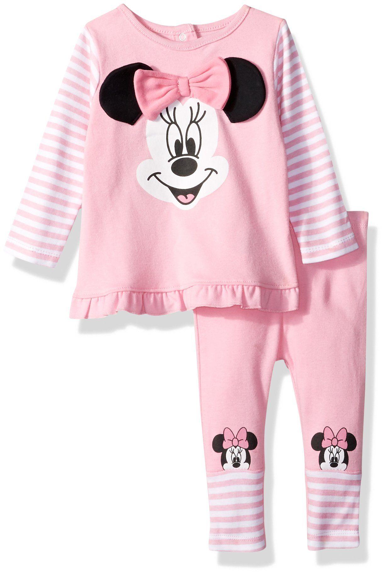 59c9145ea9ac Disney Baby Girls Minnie Mouse 2 Piece Top Big Face Set Pink 03 ...