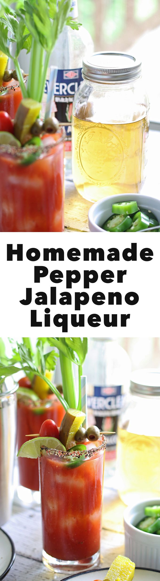 This homemade pepper jalapeño liqueur using Everclear® is fantastic
