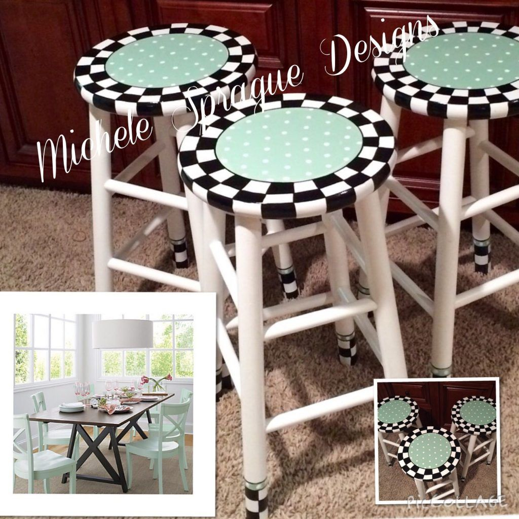 These 25 Hand Painted Swivel Top Wooden Bar Stools Are Painted In