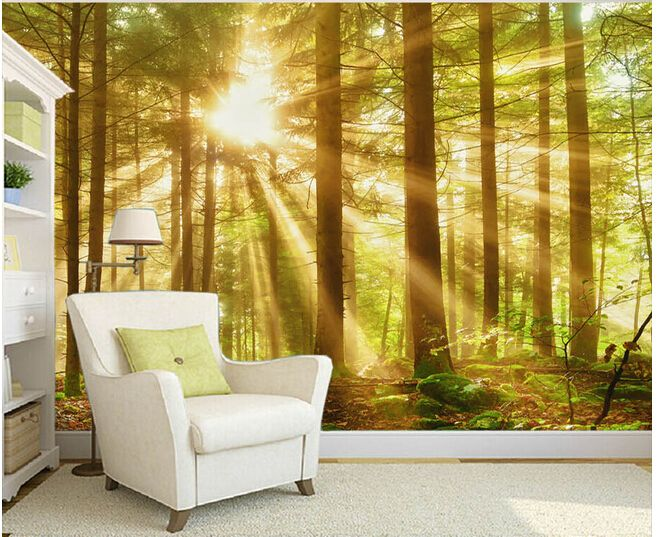 Custom Nature Wall Murals Woods Morning Scenery Paintings For The - Custom vinyl wall murals