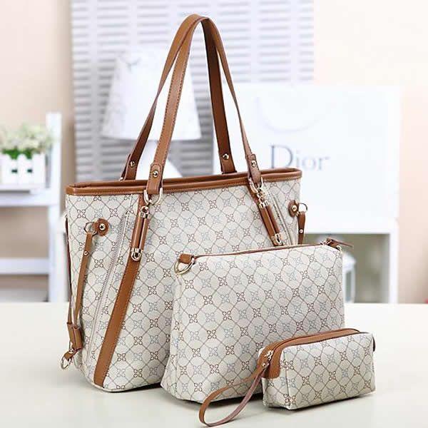 Moderne Handtasche, PU Leder, mit Messing, goldfarben plattiert, keine, 330x280x115mm, 270x200x110mm, 165x80x45mm, 3Stücke/Gruppe, verkauft von Gruppe - perlinshop.com