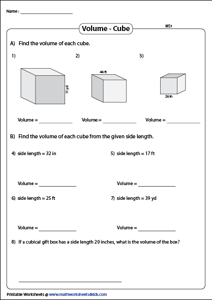 Volume Of A Cube Worksheets Cube Volume Volume And Capacity