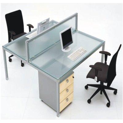 Estacion de trabajo cristal para 2 personas et06 for Sillones para escritorios oficina
