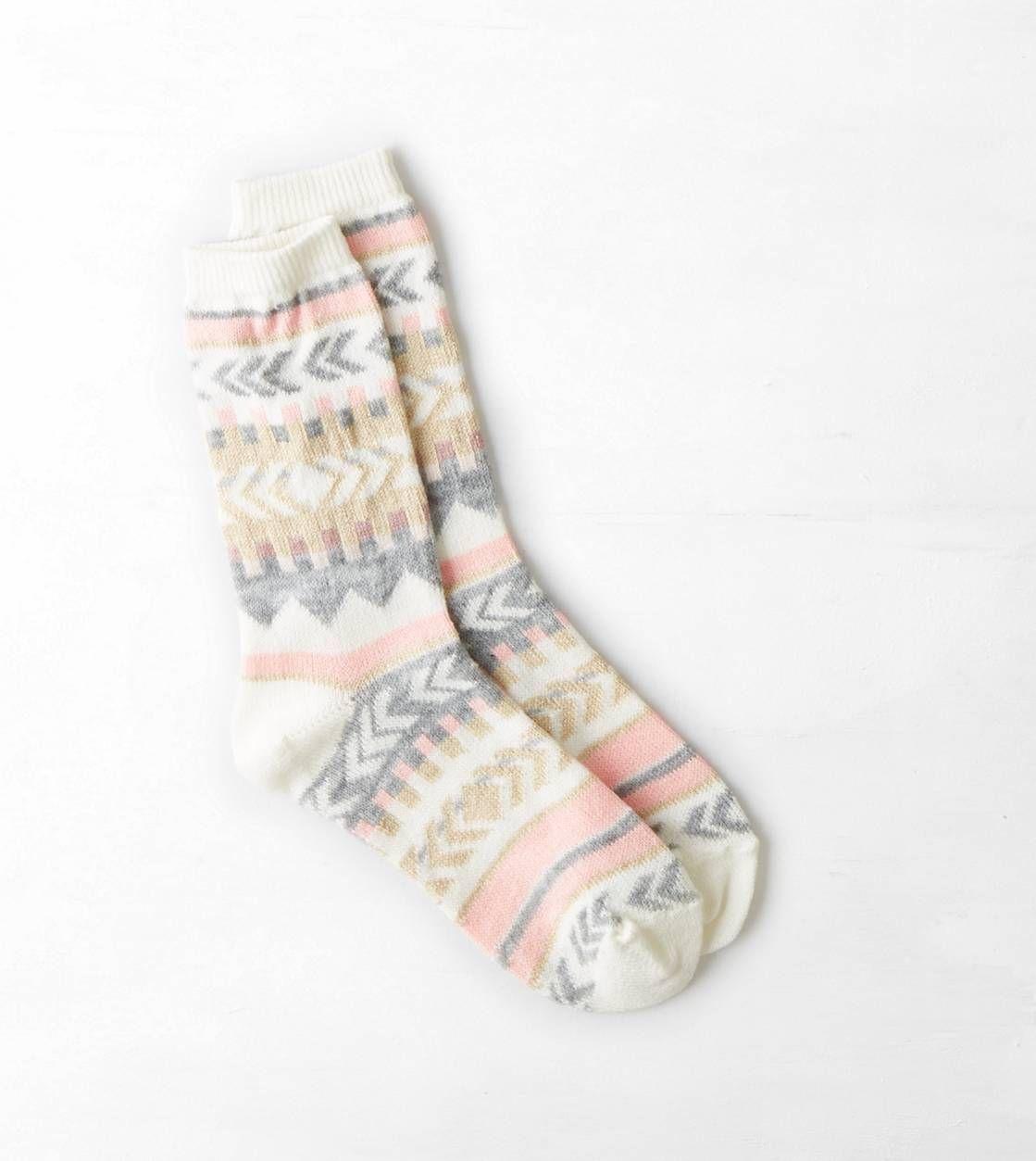 AEO Shimmery Print Striped Crew Sock