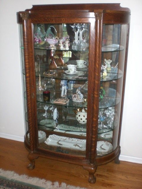 Large Antique Curved Glass Mirrored Back Tiger Oak China Cabinet ...