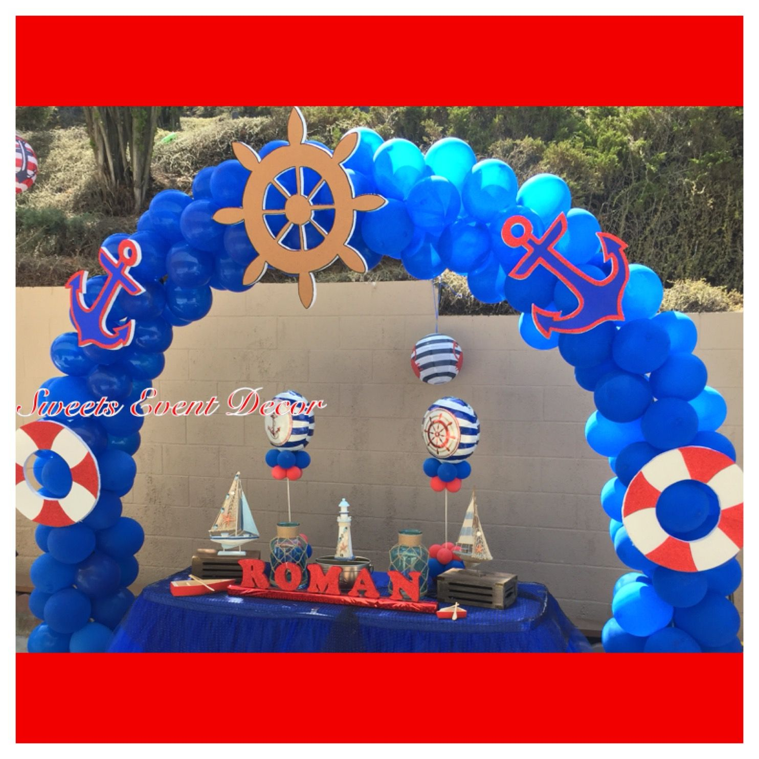 Nautical Event Decor: Nautical Theme Balloon Decoration By: Sweets Event Decor