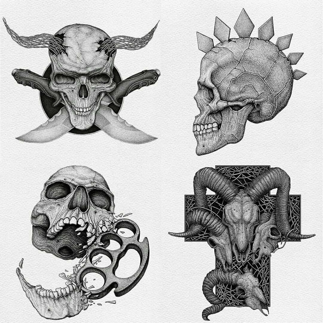 Ok, choose next (1.2.3.4) your favorite skull 💀 dotwork in comment ❌❌❌ #dotwork #dotworkartist #inkdrawing #macabreart #dotworknow #skullart #illustration #freelanceartist #blackworknow #darkart #tattooart #merchdesign #inkart #skulldrawing #inked_muse #skullsketch #darkdesign #dotworkart #darktransmissions #skulltattoo #inkfeature #instafineliner #tshirtdesign #rotringart #freelanceart #blackart #дотворк #artistsoninstagram #эскизытату #blackworkillustrations