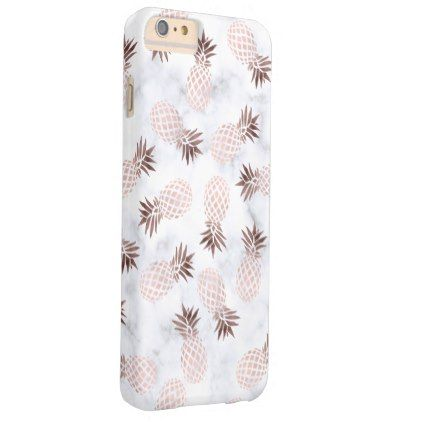 Elegant Modern White Marble Rose Gold Pineapple Barely There