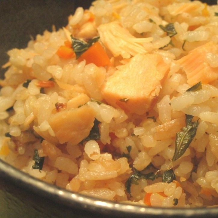 Salmon and Kale Rice from tomato girl's Kitchen.