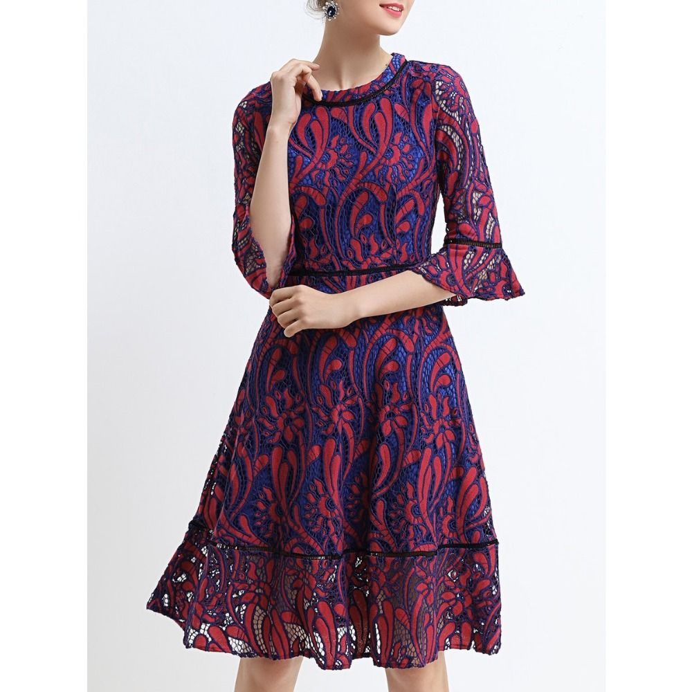 948535d5b4cff Price tracker and history of Original New 2017 Brand Plus Size Flare Sleeve  Pierced Floral Crew Neck Elegant Casual Midi Lace Dress Women Wholesale