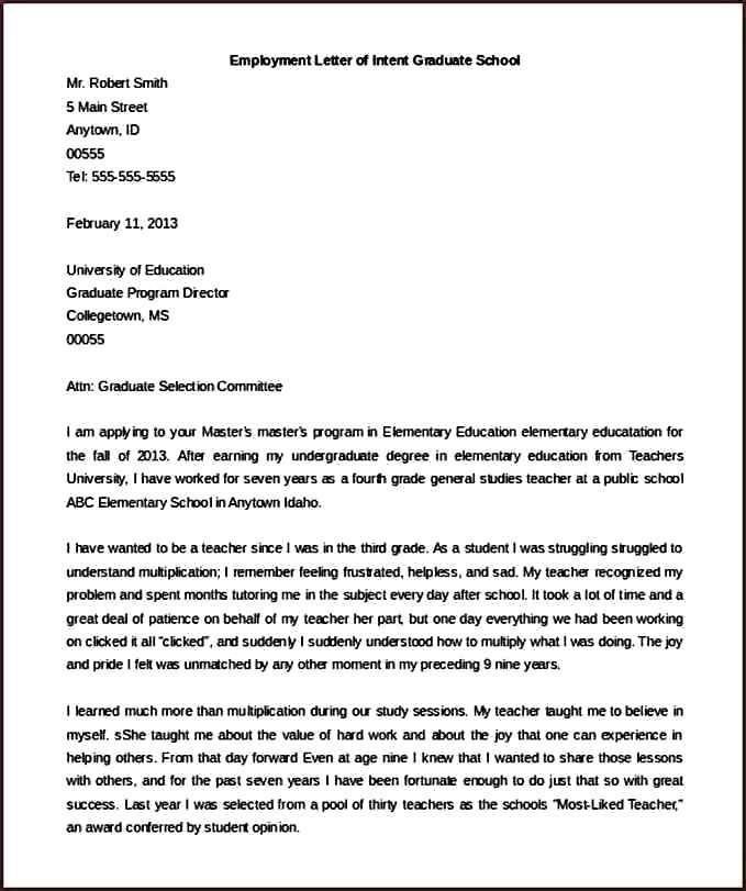 letter of intent for graduate school free school application letter