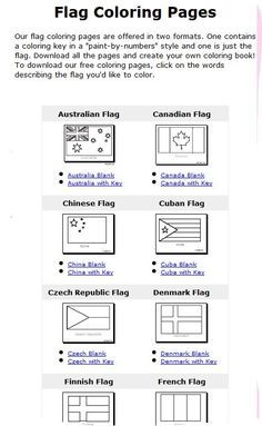 Flags of the world coloring pages with color key Geography and