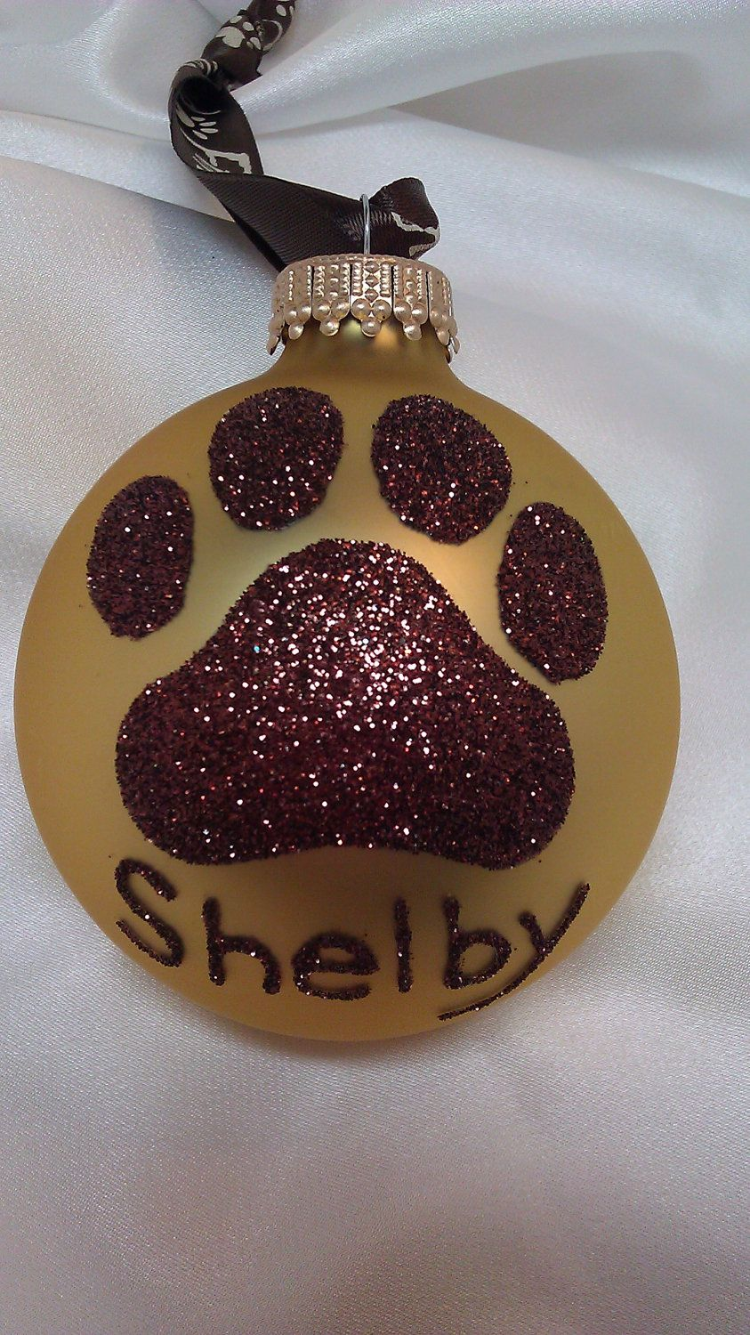 Personalized pet ornament - Dog Paw Print Glitter Christmas Ornament Your Choice Of Color Personalized Pet Doggie Glass Ball Chocolate Brown And Gold K9 Dog Lover