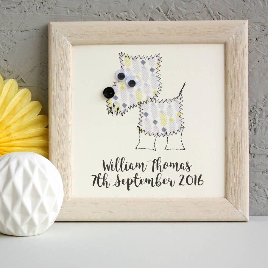 cão personalizado bordado obras de arte emolduradas por gibões zoe | notonthehighstreet.com