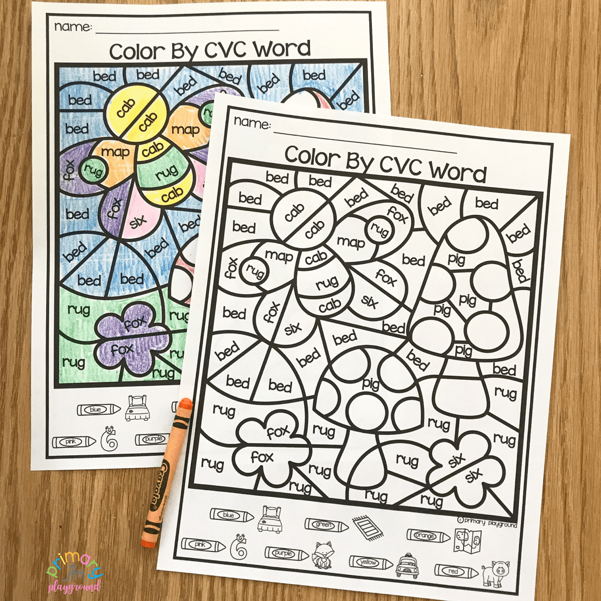 Free Printable Color By Code Cvc Words Cvcwords