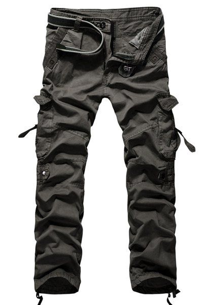 Work Pants Trousers Combat Cotton blends Solid Color Military Straight Spring