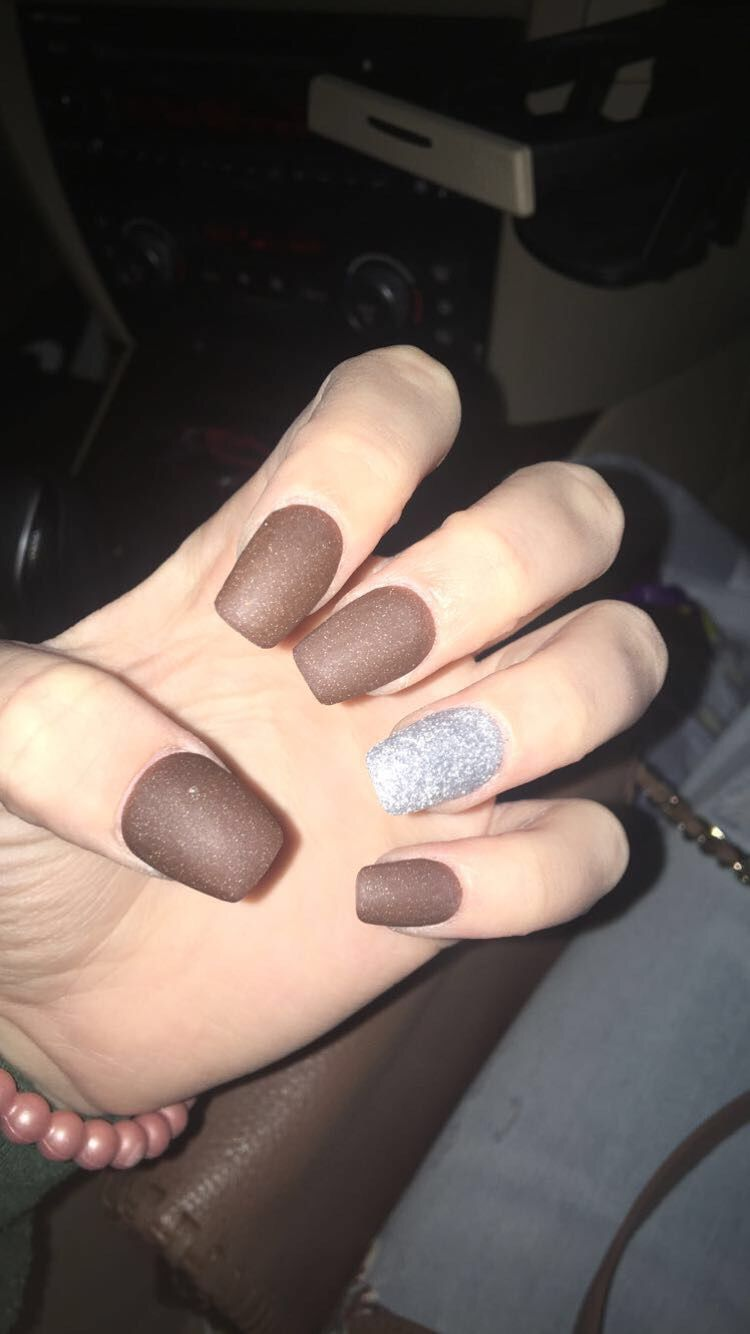 matte brown and glitter acrylic short coffin nails