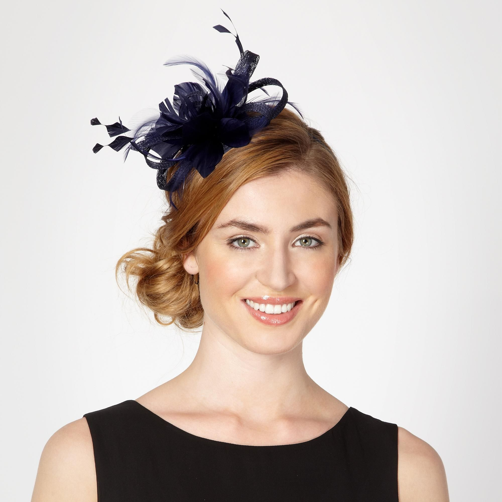 navy loop and feather hair band - hats & fascinators