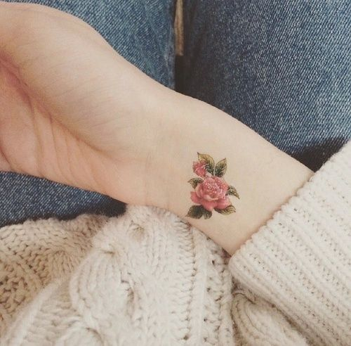 Tattoo, Flowers, And Rose Image Indie Tumblr Pink Tat Idea Inspiration  Delicate Womenu0027s Girlu0027s