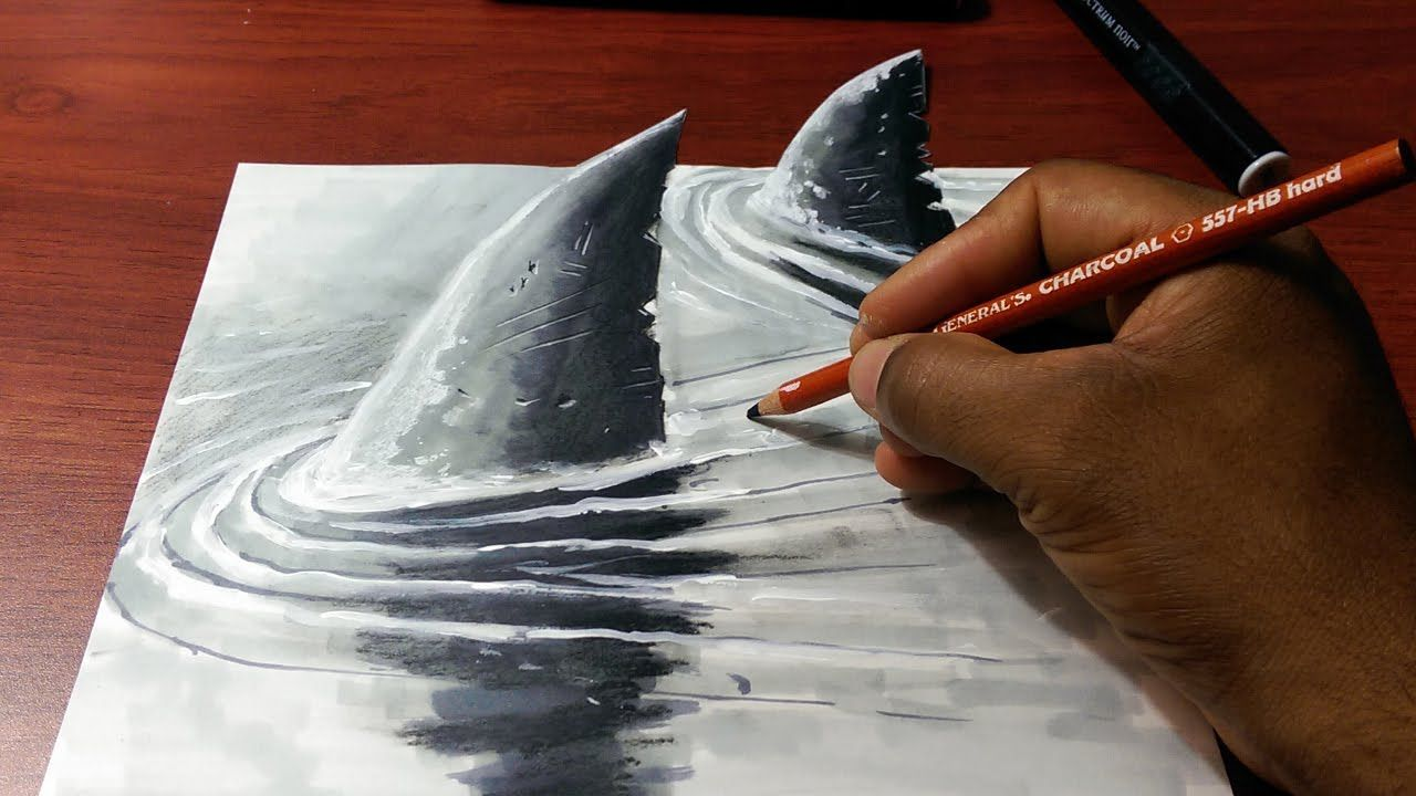 How To Draw A 3d Shark Fins Fast And Easy Shark Drawing