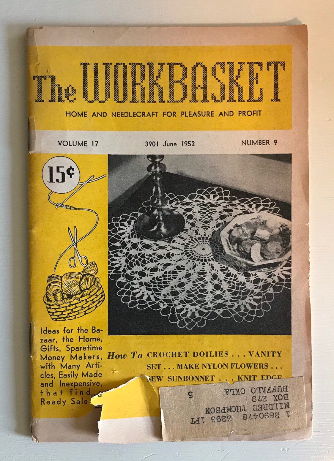 Excited to share this item from my #etsy shop: Vintage .... The WORKBASKET Home & Needlecraft for Pleasure and Profit ... Volume 17  Number 9  June 1952.... Tatting, Crochet, Cooking