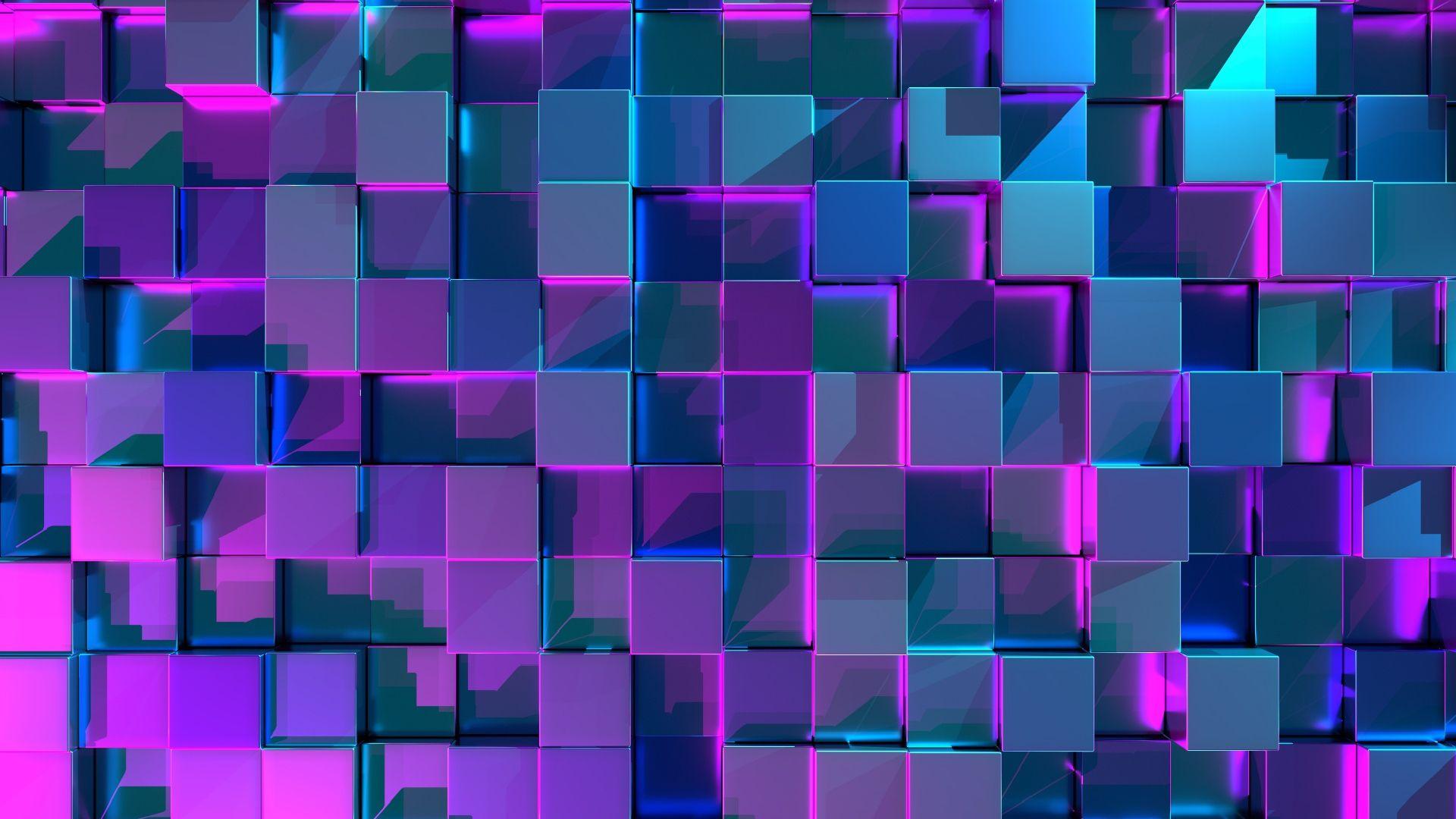Blue Cubes Purple Light Background Free Wallpaper Hq Hd Wallpaper Lit Wallpaper Graphic Wallpaper