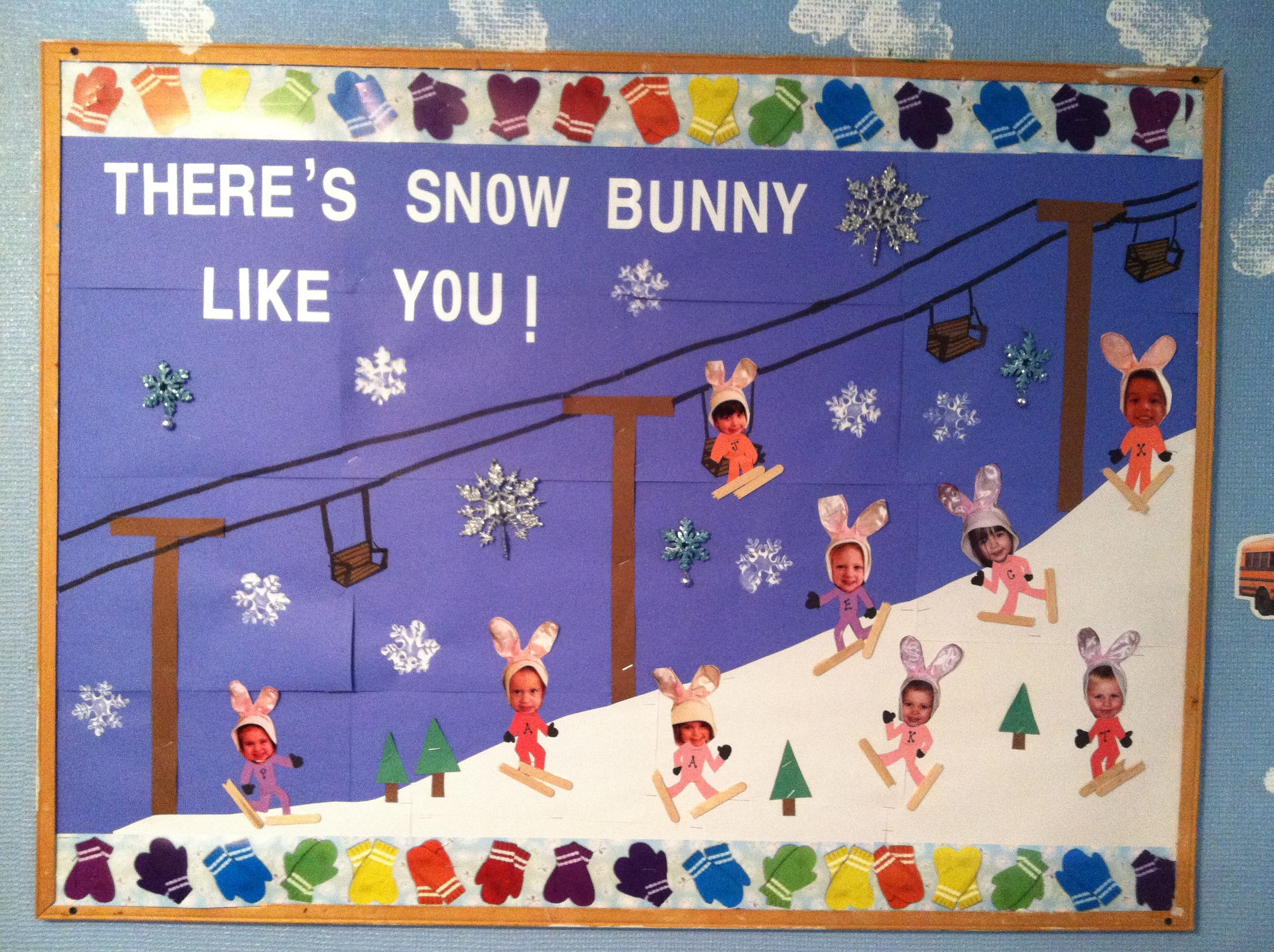 White Christmas Classroom Decorations : Winter classroom bulletin board quot there is snow bunny like