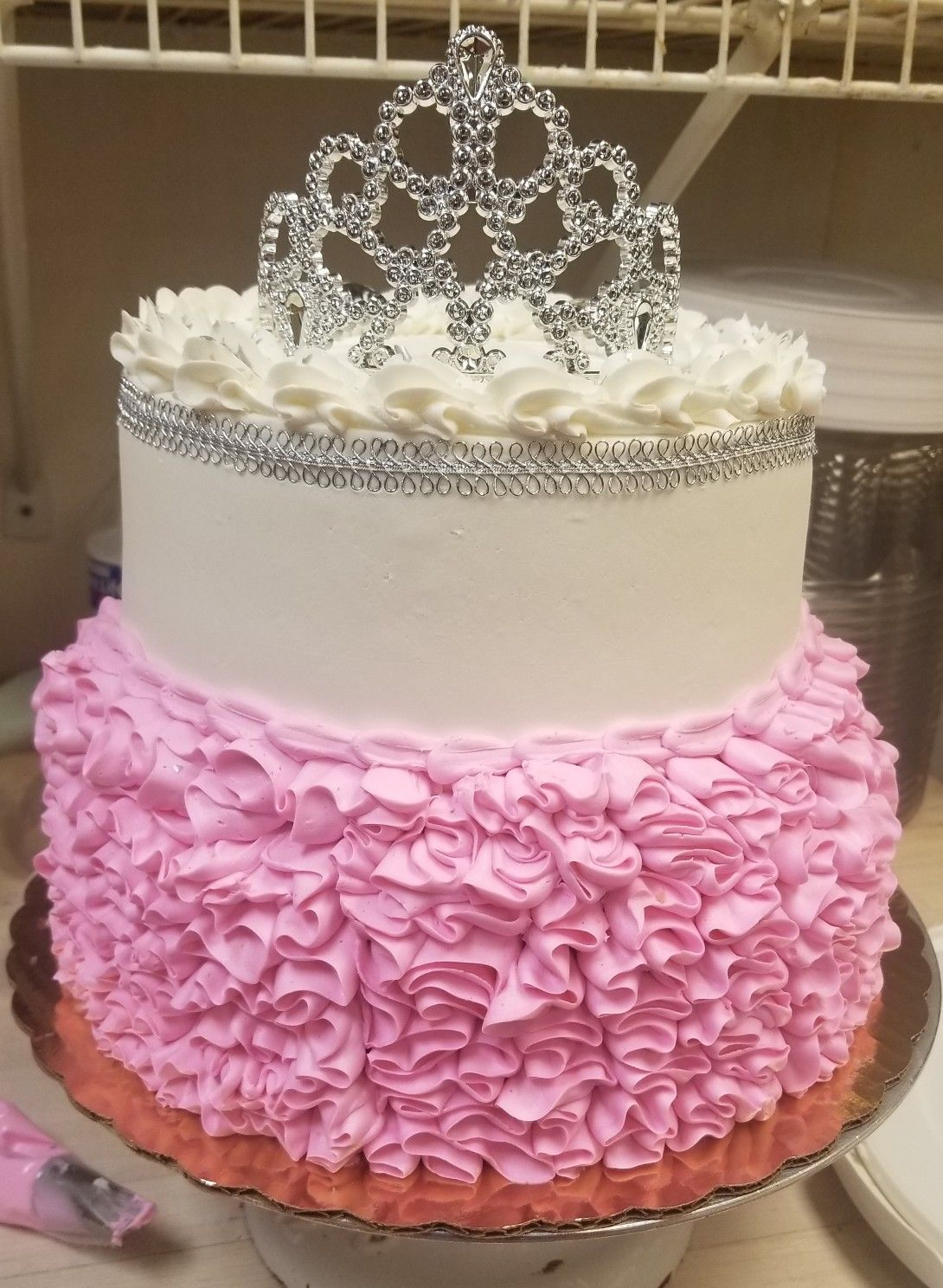 Simple 2 Tier Buttercream Ruffled Princess Cake By Ae With Images