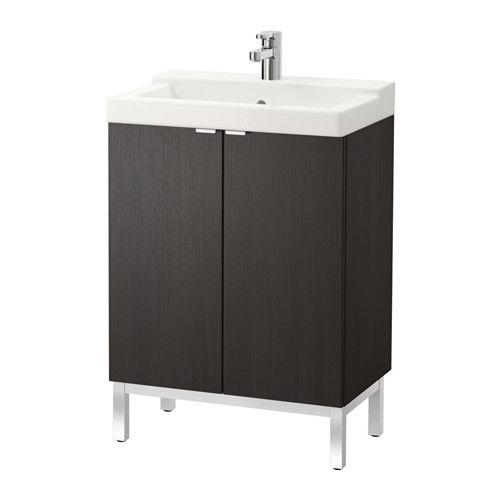LILLÅNGEN / TÄLLEVIKEN, Sink Cabinet With 2 Doors, Black-brown, , Can Be Used As A Shelf