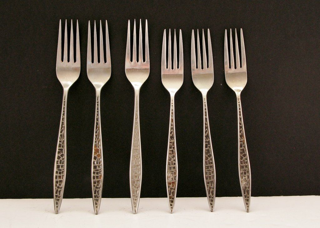 Vintage Viners Mosaic Forks Lot Mixed Sizes X 6 Stainless Steel