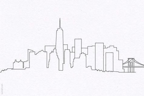 New York City Skyline Simple Drawing Skyline Drawing City Drawing New York Drawing