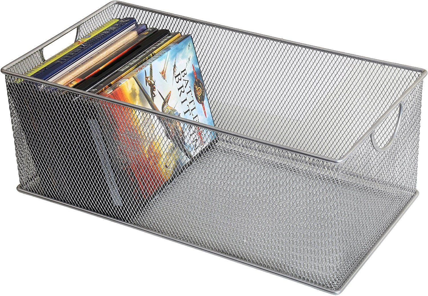 Amazon.com: Ybm Home Mesh Storage Box, Silver Mesh Great for School Home or Office Supplies, Books , Computer Discs and More 2302 (1, Zip Box- 8 X 4.5 X 4.8 Inches): Home & Kitchen