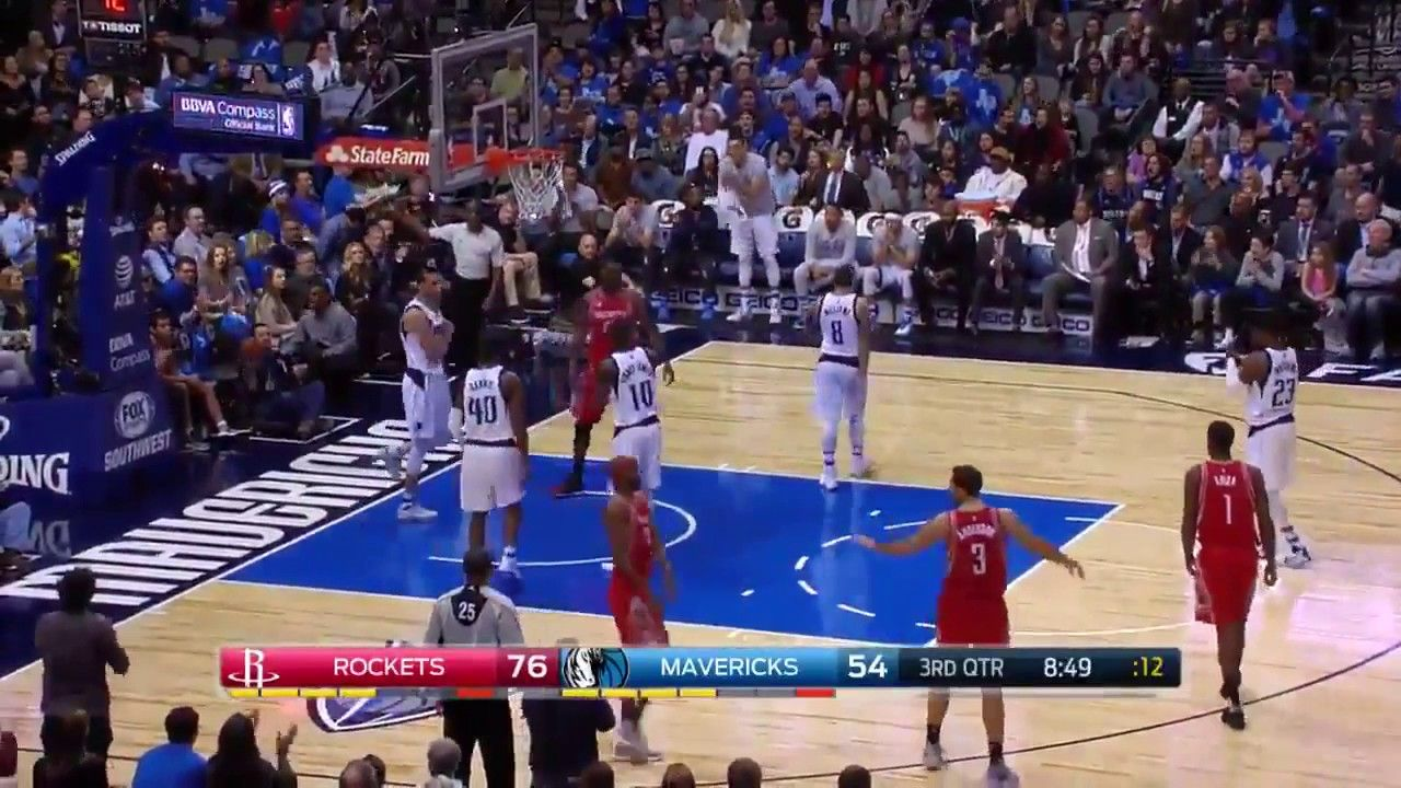Rockets vs Mavericks Salah Mejri Denies Nenes Dunk Attempt