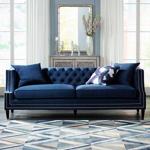Best Marilyn 93 Wide Blue Velvet Tufted Upholstered Sofa 400 x 300