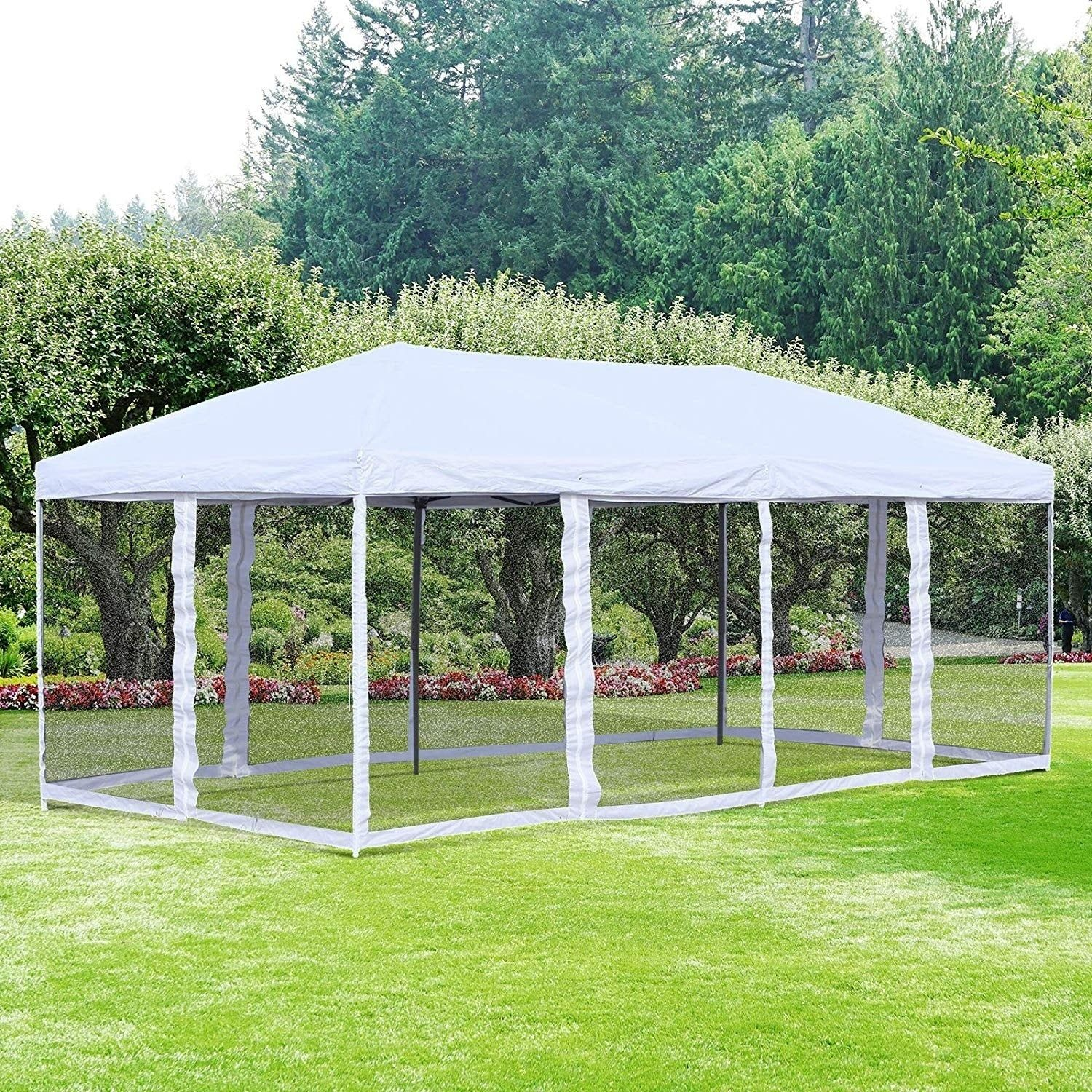 Outsunny 10 X 20 Easy Pop Up Canopy Party Tent With 6 Removable Mesh Sidewalls Cream White Steel Patio Gazebo Gazebo Canopy Tent