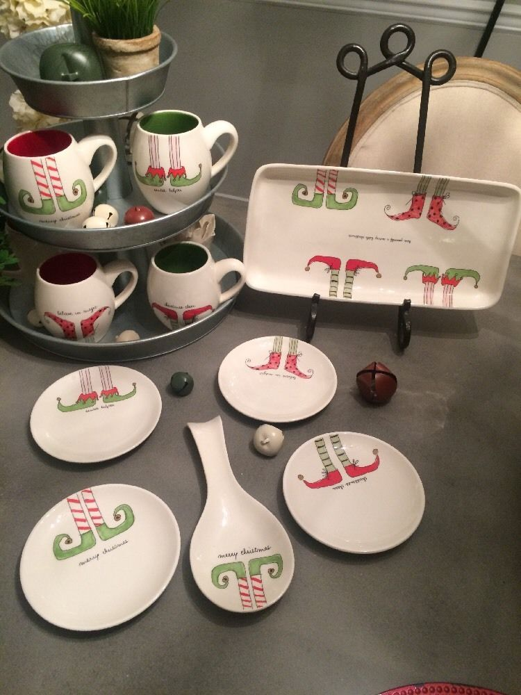 rae dunn artisan collection by magenta large lot elves shoes dishes ebay christmas kitchen