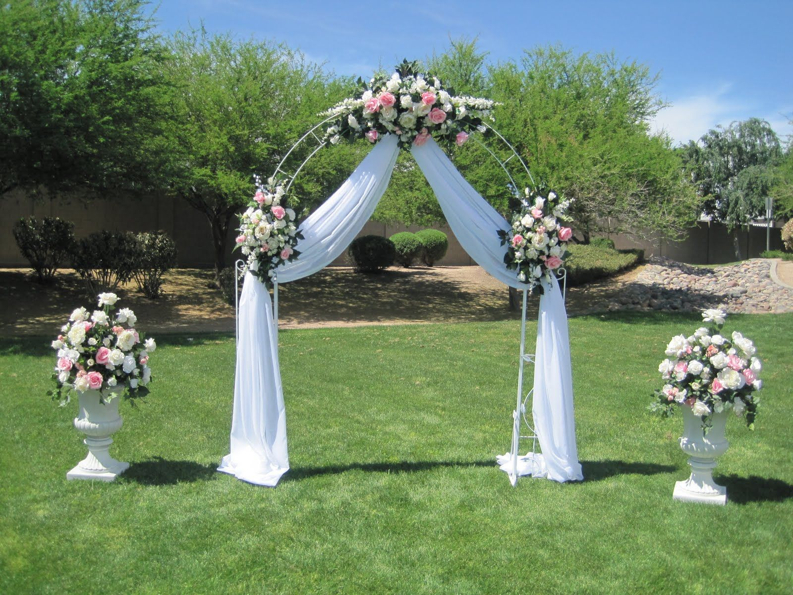 Wedding gazebo decorating ideas white wrought iron arch 3 white wedding gazebo decorating ideas white wrought iron arch 3 white floral swags voile drapery 2 junglespirit Image collections