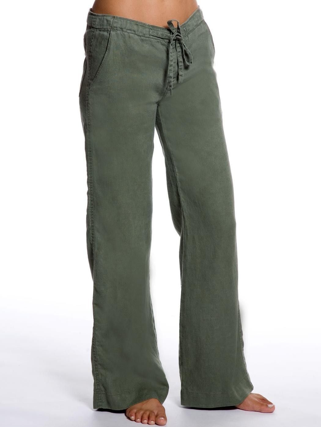 Olive Relaxed Linen Pants - Green Linen Pants for Women|Island ...