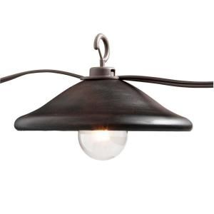 String Lights Home Depot Entrancing 8Light Outdoor Hanging Bronze Cafe Light With Bronze Metal Cover Review
