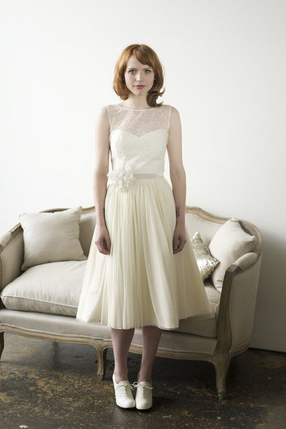 Elizabeth Dye Tea Length Wedding Dress With Illusion Neckline