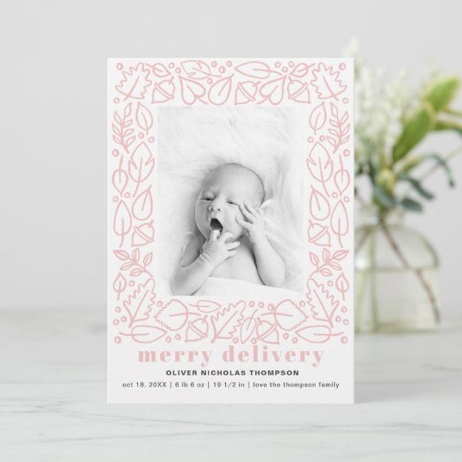 modern pink merry delivery girl birth announcement