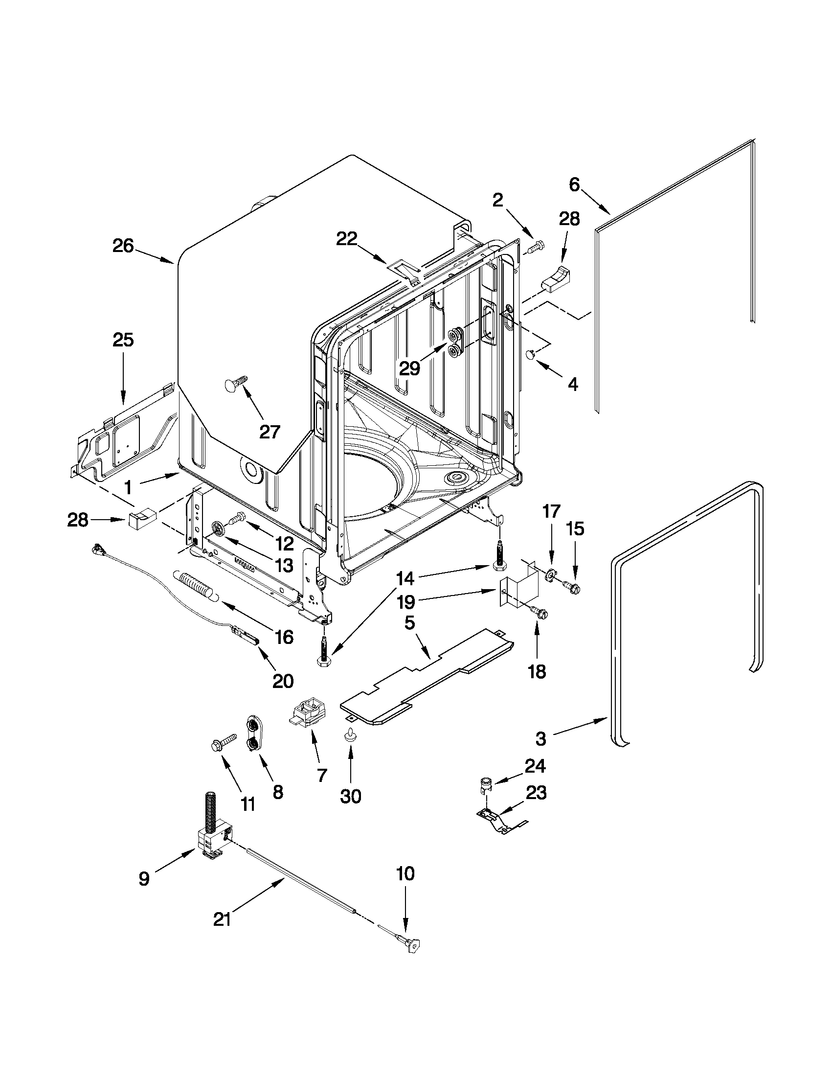 Tub And Frame Parts Diagram Parts List For Model 66513964k014
