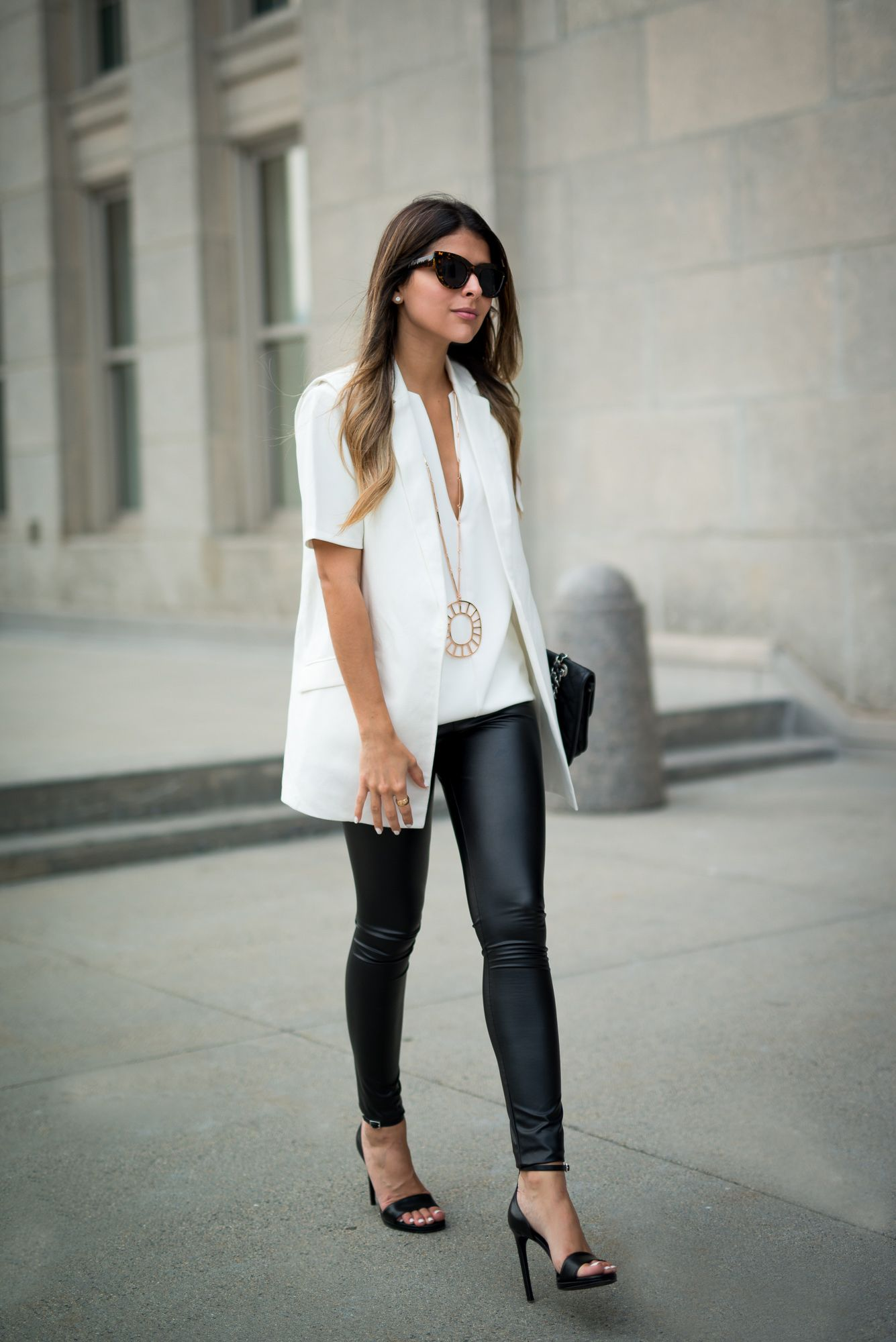 Summer Leather | More Faux leather leggings and Panama ideas