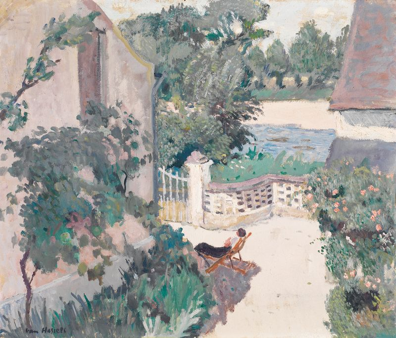 Willem van Hasselt (French, born The Netherlands, 1882-1963), Le repos au jardin. Oil on panel, 46 x 55 cm.