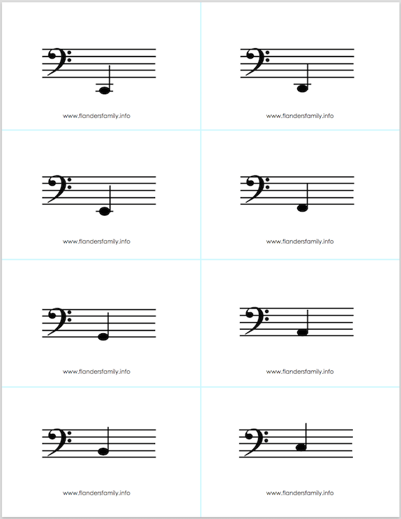 photo about Free Printable Music Flashcards identify cost-free printable musical be aware flashcards -- 4 finish octaves