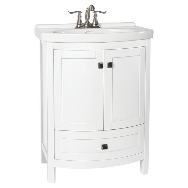 Small vanity with drawer space saving solutions for a - Space saving bathroom vanity ...