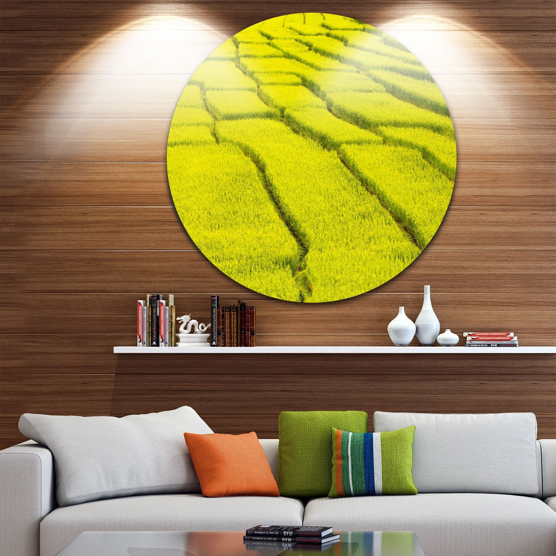 Designart \'Rice Field View\' Landscape Photography Disc Metal Wall ...