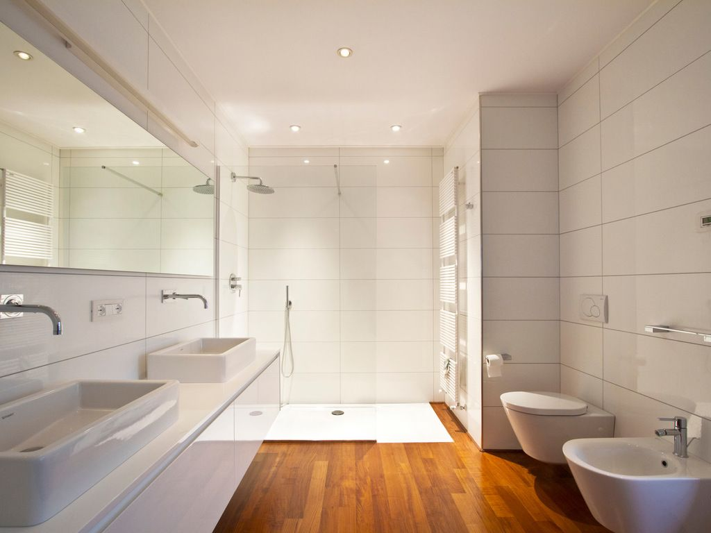 Large Trendy Walk In Shower Design In Other With Flat Panel Cabinets ...