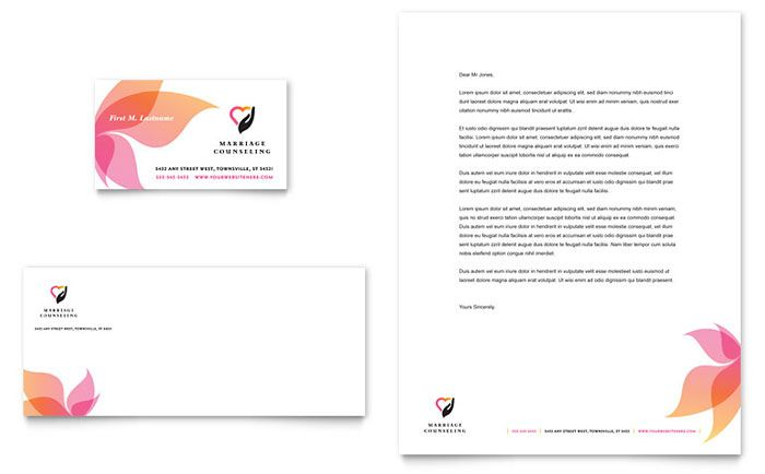 Marriage Counseling Business Card and Letterhead Template Design by