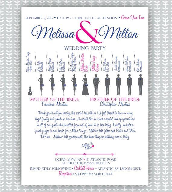 Wedding Ceremony Program Silhouette Bridal Party